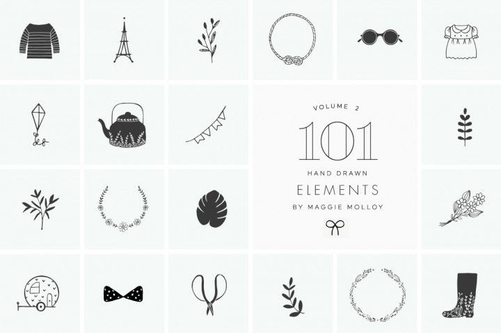 101 Hand Drawn Logo Elements EPS PSD By Maggie Molloy
