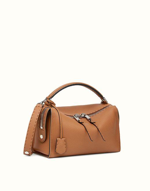FENDI | LEI SELLERIA toffee Roman leather Boston bag bigbossmegeve.com