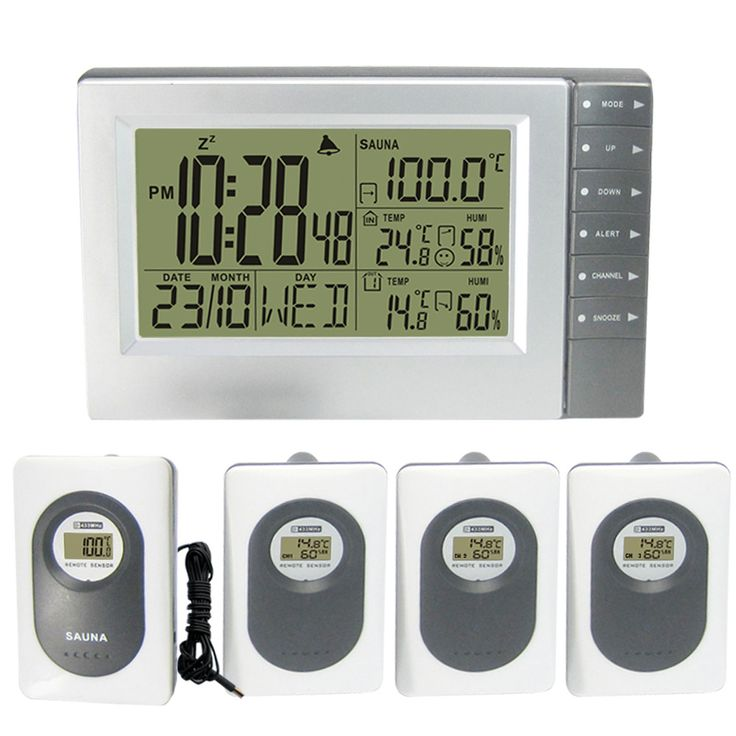 Digital Wireless Weather Station with Indoor Outdoor Thermometer Hygrometer Sauna Temperature Digital Alarm Clock 4 Transmitters