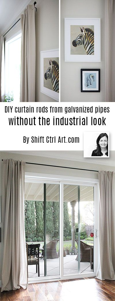 tutorial for galvanized pipe rods with traditional style -  finials are regular hardware knobs  - pipe is cut to size at HD or Lowes...advantage no two piece expanding rods that sag in middle.
