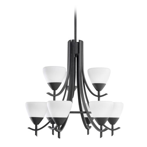 Olympia nine light two tier black finish modern chandelier by kichler lighting