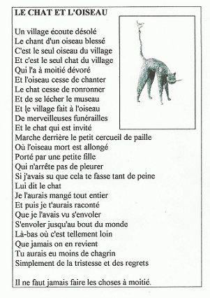 Ecole Arago, Bd Victor Hugo LILLE - Le chat et l'oiseau de Jacques Prévert