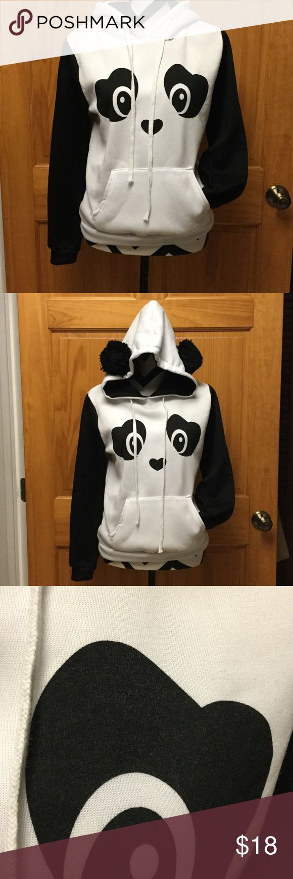 🐼 ADORABLE Panda Hoodie! 🐼 Super cute! Super soft! EUC! And Panda ears!! This sweatshirt is SO cute, and worn maybe 3 times! No flaws! It is the very soft fleece on the inside. Hood is so cute with pom-pom ears! There are no tags on the inside to tell you the maker or size. It was my teen daughters and she always wears a small. I will get measurements upon request. 🐼 Tops Sweatshirts & Hoodies