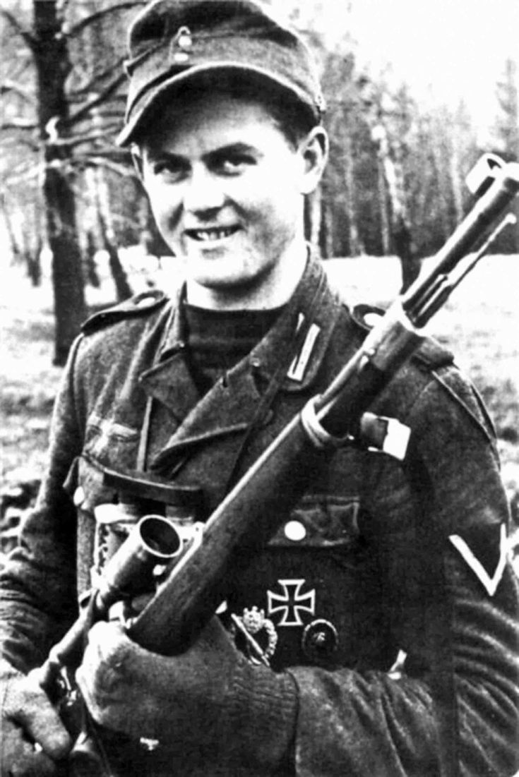 Matthaus Hetzenauer, famous German sniper on the Eastern Front in World War II who was credited with 345 kills between 1943 and 1945