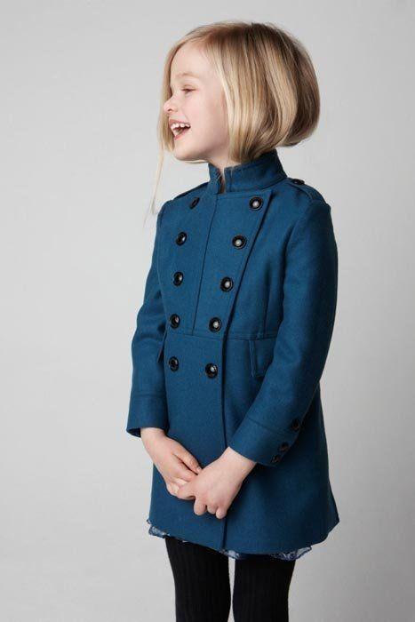 Wool prussian blue peacoat for little girls | Trendencias