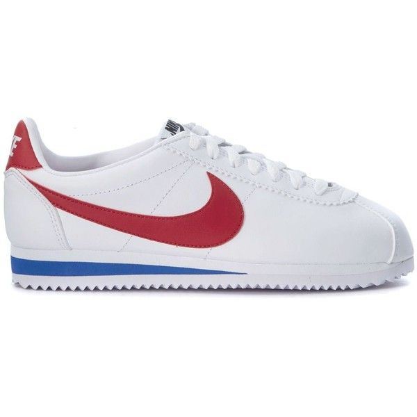Sneaker Classic Cortez in in White, Blue and Red Leather (€70) ❤ liked on Polyvore featuring shoes, bianco, womenshoessneakers, nike footwear, red leather shoes, nike shoes, white shoes and real leather shoes