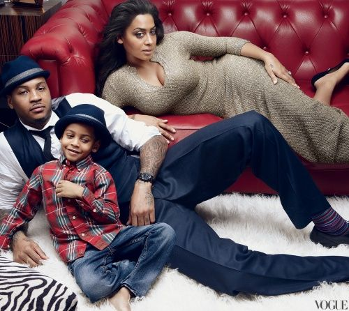 Carmelo Anthony, La La Anthony, and son Kiyan shot by Annie Leibovitz for Vogue this month.