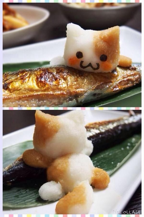 This cat is made of grated radish!