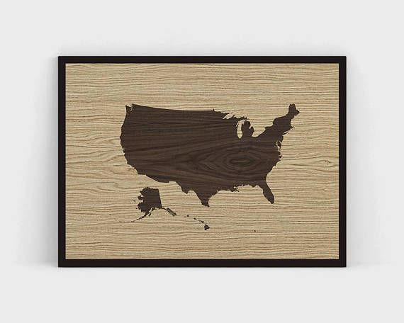 PRINTABLE Wood United States Map Printable, Wooden USA Map Vintage Wall Art, Large United States Map, US Map Instant Download Rustic Print Poster