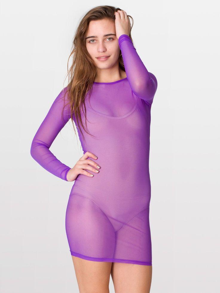 american apparel   nylon spandex micro mesh long sleeve