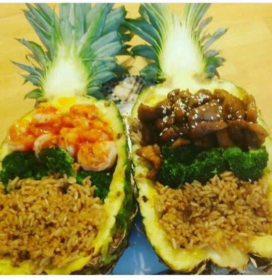 Sweet n' Spicy Shrimp, and Chicken Teriyaki Pineapple Bowls! ... Please be aware that I made this MYSELF, there is not an excat recipe posted! Do not claim it as your own creations!!