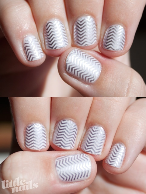 Silver Chevron Nails