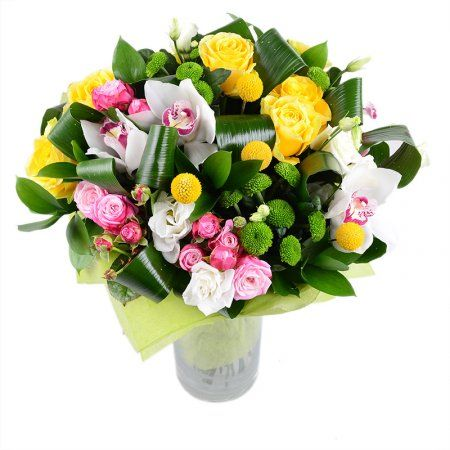 Nice spring #bouquet with #Orchids, #roses #craspedias, #eustomas and #chrysanthemus