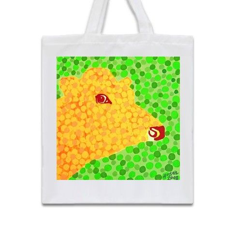 The Orange Cow Tote Bag by hoganfinland at zippi.co.uk  #zippi #orange #cow #animal #farm #green #dots #art #bags #shopping #carryall #moo #popart #stare #art #painting #artist #alanhogan #original