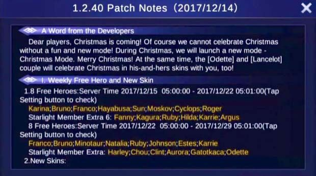 Mobile Legends Update Patch Notes 1.2.40 - Merry Christmas