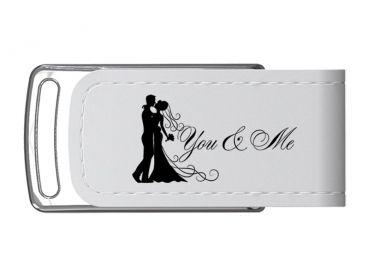 Hochzeit Leder DVD Hülle & Elegant Luxus DVD Case Box-Hochzeit USB-Stick 16 GB. USB Hochzeit Design. Kunstleder Weiss.