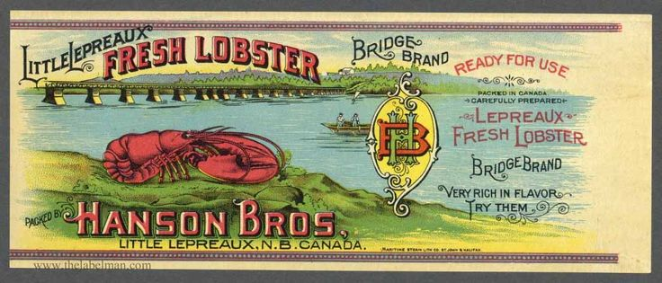BRIDGE Vintage Canadian Lobster Can Label