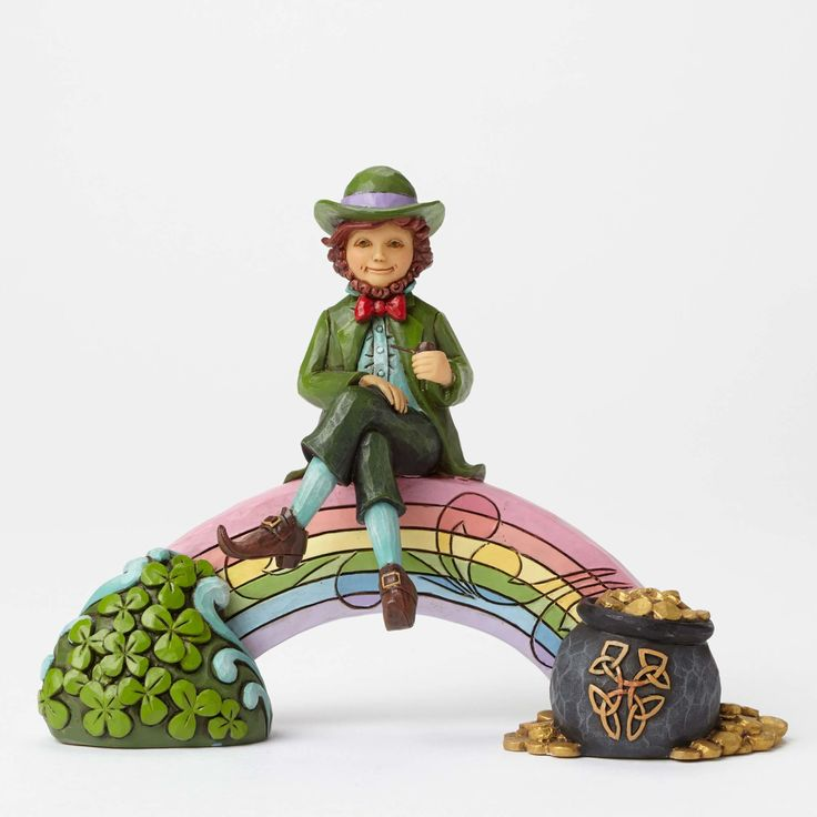 Item Number: 4051397 Materials: Stone Resin Dimensions: 4.5 in H x 2.375 in W x 6 in L Sure in its the luck of the Irish to find a pot of gold at the end of the rainbow. This colorful Leprechaun featu