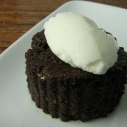 chocolate valentino cake with a tipple of absinthe ice cream