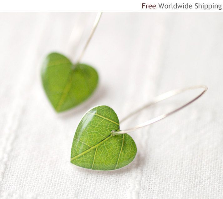 Green leaf earrings - Nature I heart - Heart earrings (E066). $22.50, via Etsy.