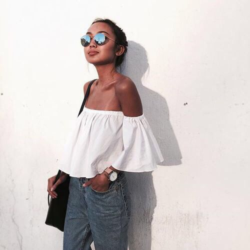 Off-shoulders white top, denim style. Round and flash lenses sunglasses http://www.smartbuyglasses.co.uk/designer-sunglasses/Ray-Ban/Ray-Ban-RB3447-Round-Flash-Lenses-019/30-220587.html From: @ineandrea