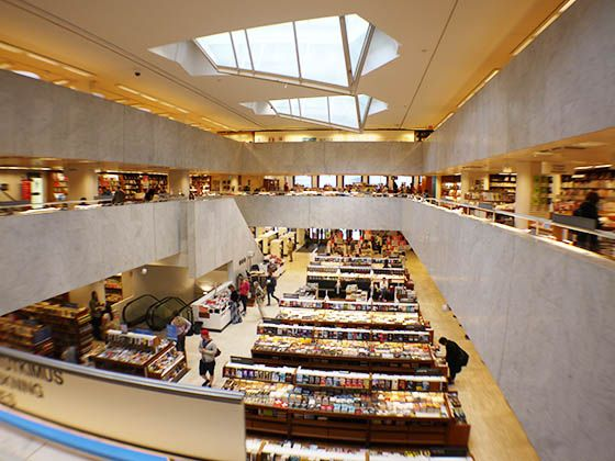 Alvar Aalto: Cafe Aalto, 1955 Bookstore/cafe from the middle of Aalto's 50 year career. The space features many Aalto details including his crystalline shaped skylights projecting through the roof.