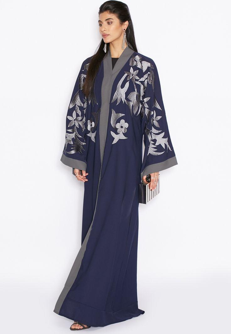 Shop Hayas Closet navy Embroidered Yoke Abaya for Women in Saudi