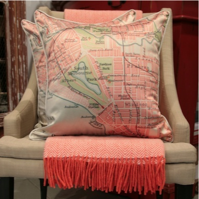 Cartographie Melbourne cushion with orange throw