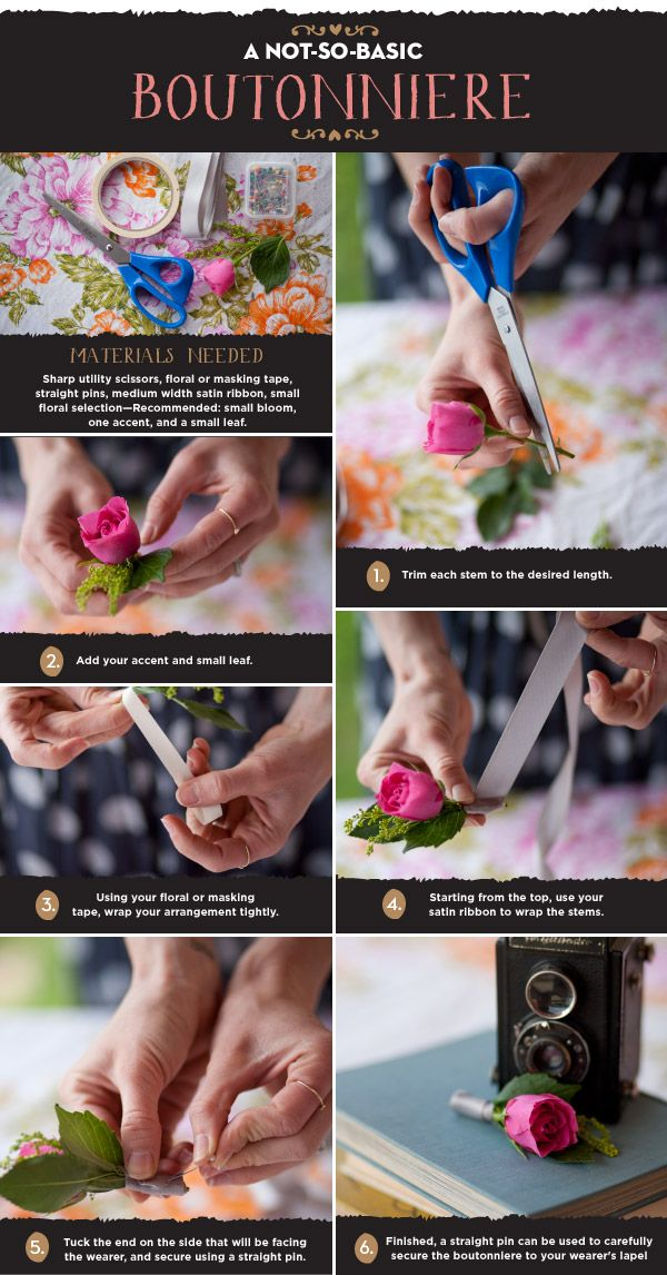 A not-so-basic boutonniere. #diy #wedding -- Pinned for how-to. Not personally a fan of the pink rose.
