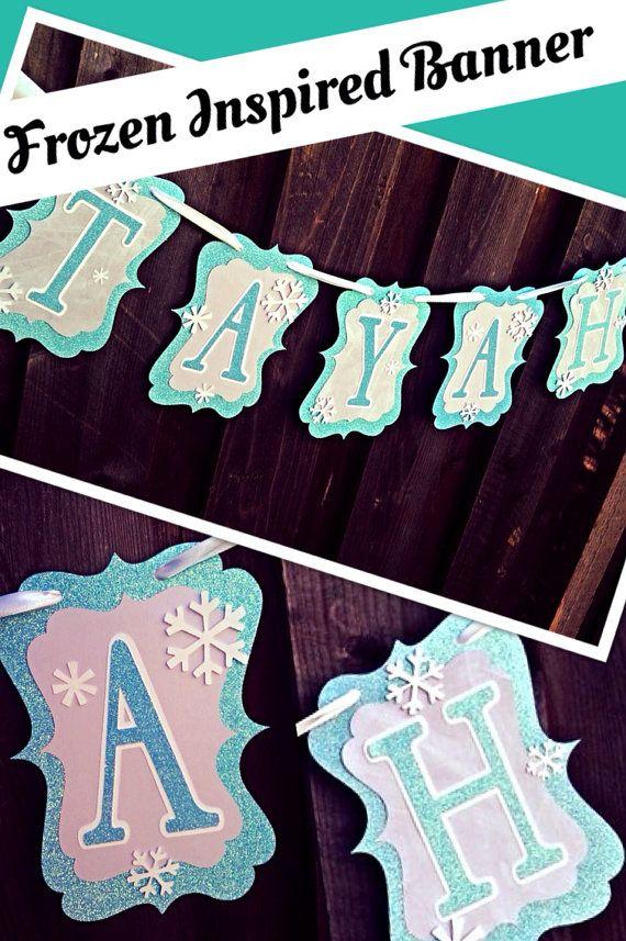 Elsa Frozen Birthday Name Banner on Etsy, $25.00