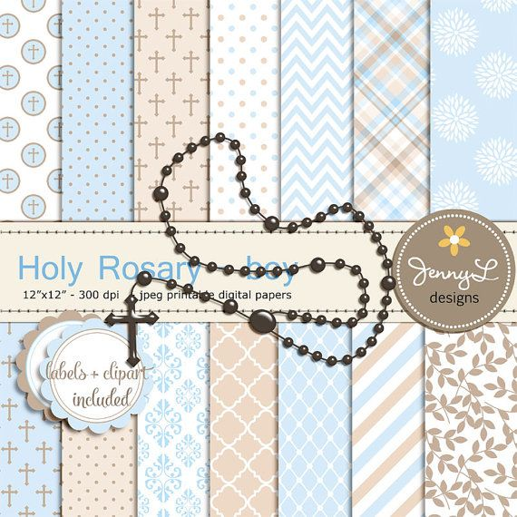 Rosary Boy Baptism Digital Papers and Clipart por JennyLDesignsShop