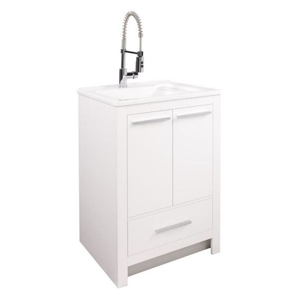 Foremost Nou Living By Foremost Hamburg 25 In Laundry Vanity Combo With Acrylic Sink And Faucet Acrylic Sinks Faucet
