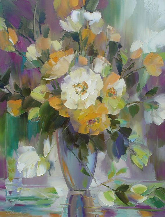 Maher Art Gallery: Alexander Sergeev 1968 | Flowers russian painter