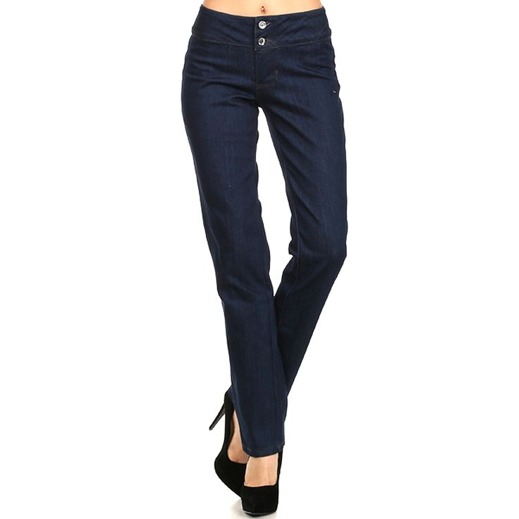 Step Out In Style This Season. Features Comfortable Long Straight Leg Pants With Crystal Button With T400 Yarn Denim. Exceptional Fit And Soft To The Touch.Style: Straight Leg With Crystal Button Length: Full Length Contents: 74% Cotton 26% Polyester
