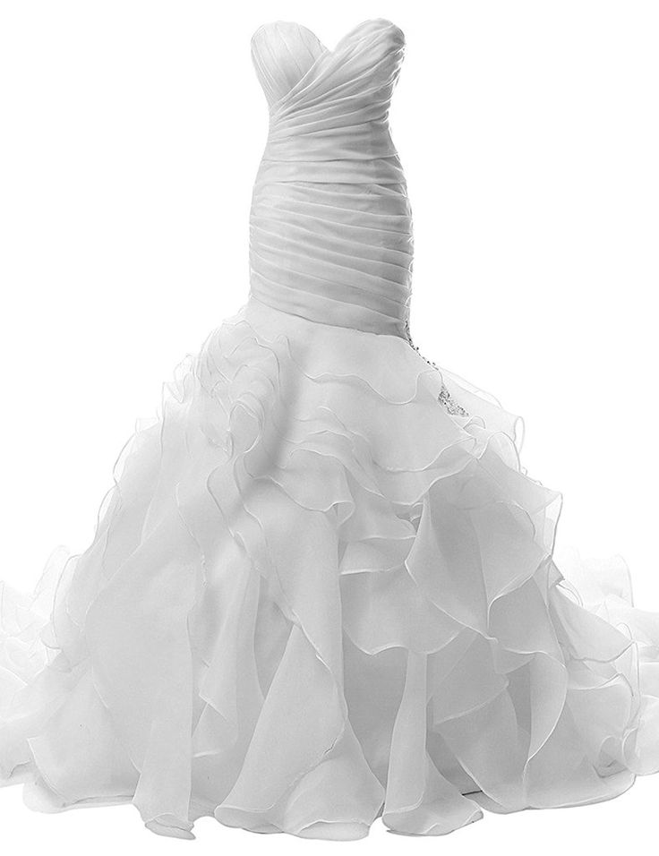 Jaeden Trumpet Strapless Wedding Dresses Pleat Ruffles