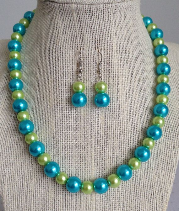 Turquoise and Lime Green Bridesmaid Necklace by CherishedJewelryCo, $24.00