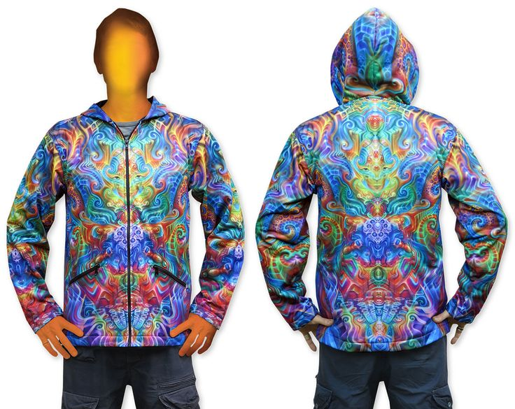 Sublime Hooded Jacket : Holographic Altar This jacket is printed using sublimation printing on a high quality polyester fleece. Fully lined with black fabric. 2 outside zip pockets and 2 inside zip pockets. Secret stash pocket label !  Artwork byFabian Jimenez