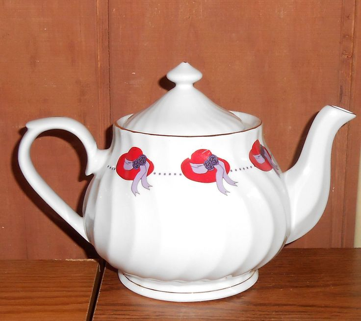 Red Hat Society Ceramic Teapot Tea Pot W Gold Trim By