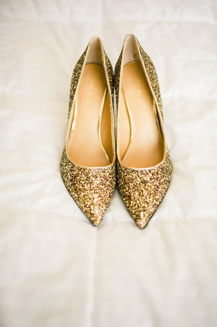 Glittery Gold Bridal Shoes | Sash & Bow https://www.theknot.com/marketplace/sash-and-bow-green-bay-wi-265345 | Lambeau Field https://www.theknot.com/marketplace/lambeau-field-green-bay-wi-315168 | Erin Jean Photography https://www.theknot.com/marketplace/erin-jean-photography-de-pere-wi-300977