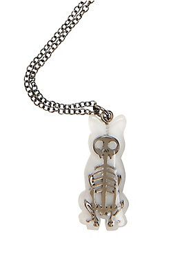 Silver cat skeleton pendant necklace. Here, kitty, kitty, kitty.