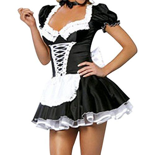 Quesera Women's French Maid Costume Sexy Black Satin Layered Halloween Fancy Dress,Black,Tag size XL=US size Medium