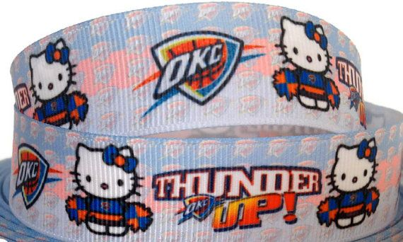 1 2 3 4 or 5 Yards 7/8 inch Grosgrain OKC Thunder by KCElasticTies, $0.85
