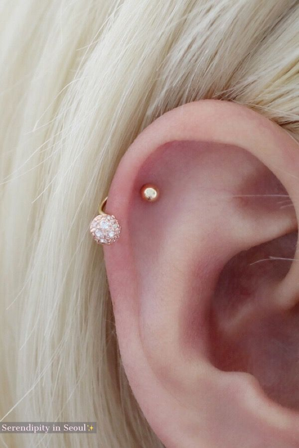 ba96b46b268 14K Gold Curved Barbell CZ Ball Earring in 2019 | Jewelry | Helix ...