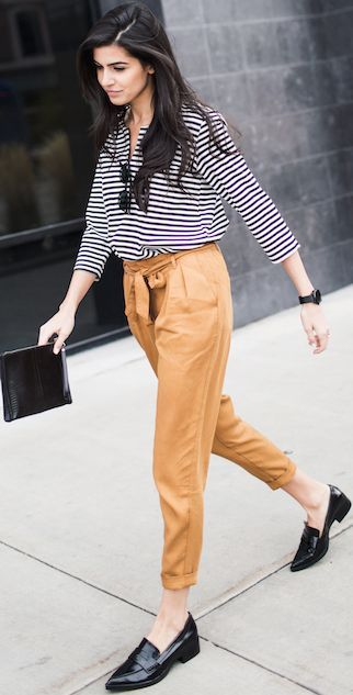 Simply Hued Stripes On Camel Pants On Black Pointy Loafers Fall Street Style Inspo by Simply hued