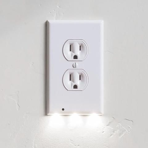 1 Pack Guidelight - Outlet Wall Plate With LED Night Lights - No Batteries Or Wires - Installs In Seconds - (Duplex, White)