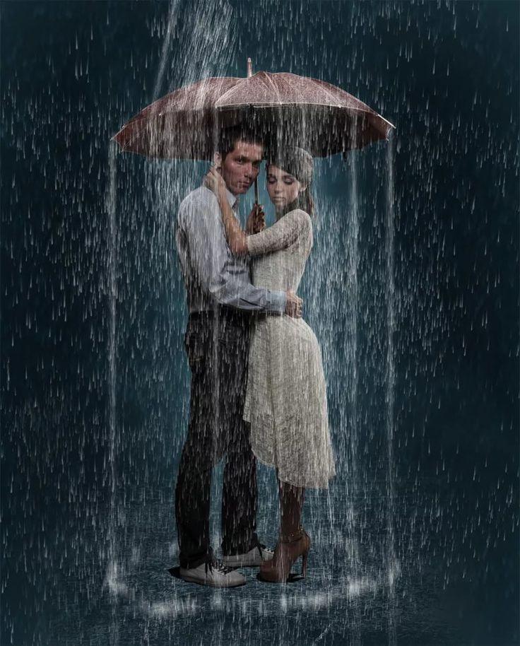 Открытка дню, открытки двое под дождем