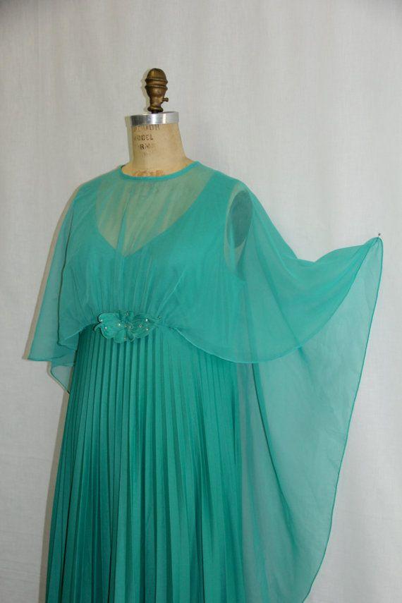 XXL Vintage Dress Maxi Teal Green Chiffon by SIZEisJUSTaNUMBER