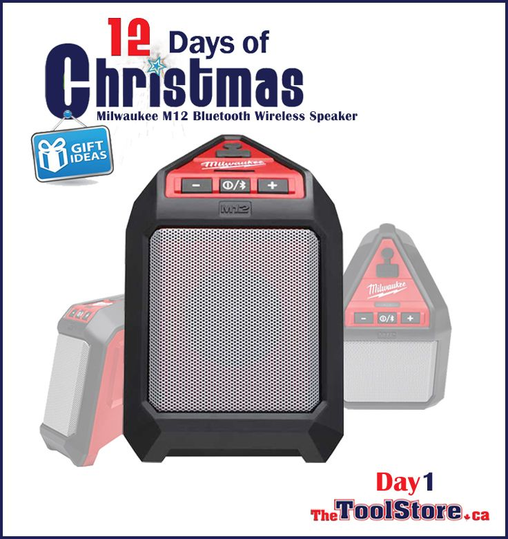 #12DaysofChristmas from @onlinetoolstore - DAY1 - Milwaukee M12 Bluetooth Jobsite Speaker with integrated Bass Port that delivers loud, clear sound at all volumes.