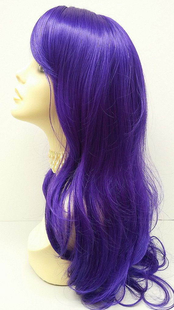 Long 20 inch Purple Wig. Wavy Straight Purple by ParamountWigs