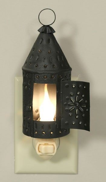Primitive Country Punched Metal Lantern Brown Night Light Lite Gift Home Decor #BlossomBucket